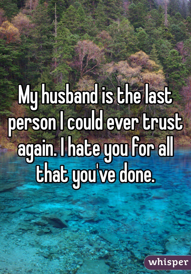 My husband is the last person I could ever trust again. I hate you for all that you've done.