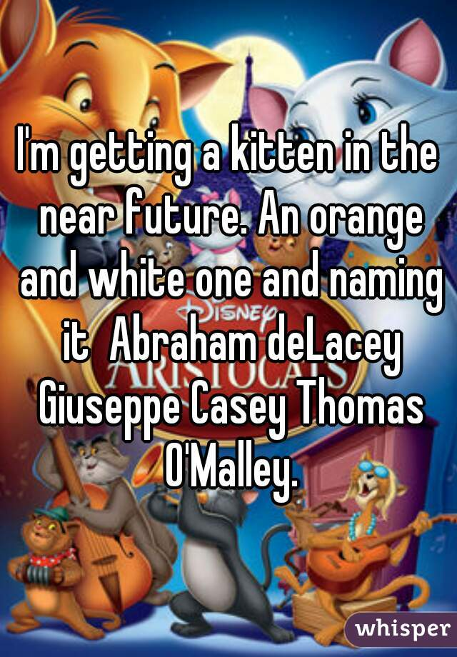 I'm getting a kitten in the near future. An orange and white one and naming it  Abraham deLacey Giuseppe Casey Thomas O'Malley.