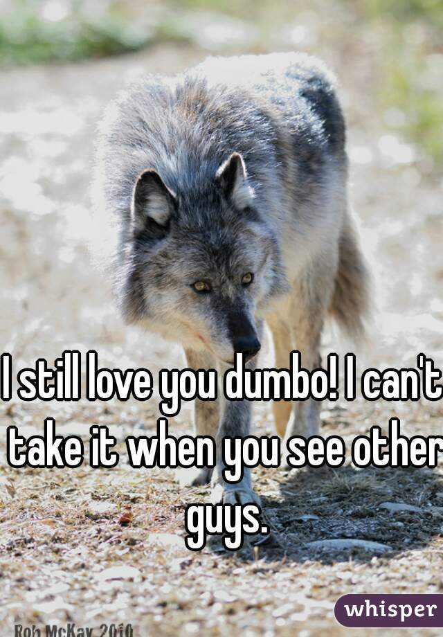 I still love you dumbo! I can't take it when you see other guys.