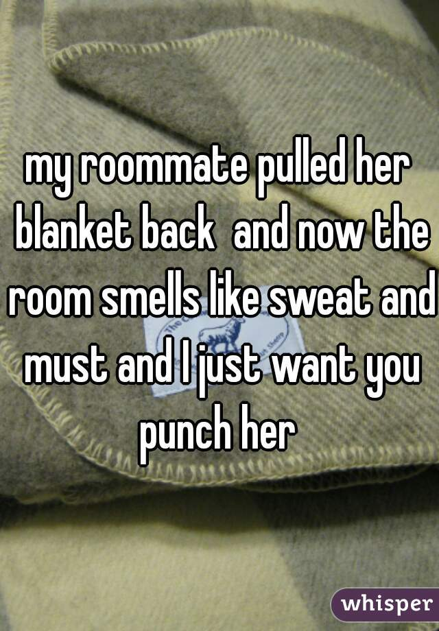 my roommate pulled her blanket back  and now the room smells like sweat and must and I just want you punch her