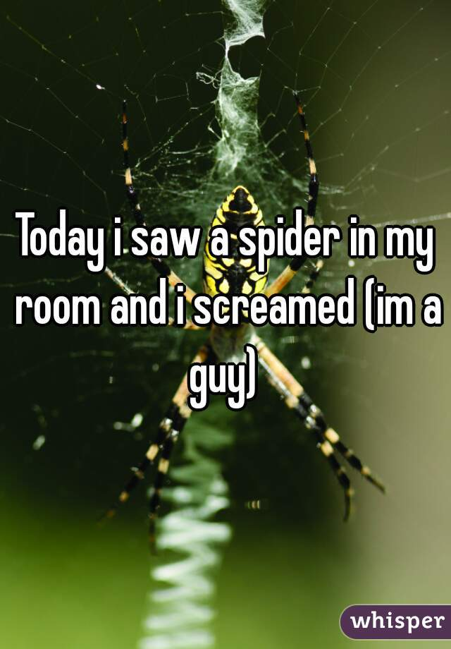 Today i saw a spider in my room and i screamed (im a guy)
