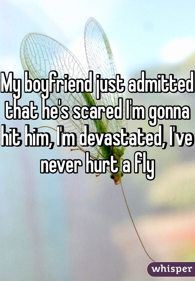 My boyfriend just admitted that he's scared I'm gonna hit him, I'm devastated, I've never hurt a fly
