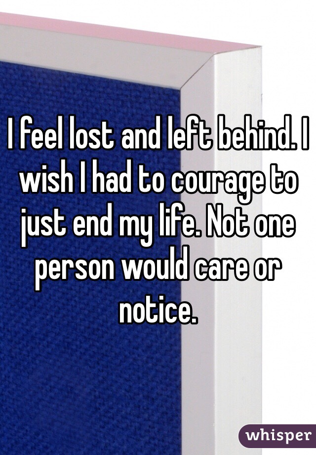 I feel lost and left behind. I wish I had to courage to just end my life. Not one person would care or notice.