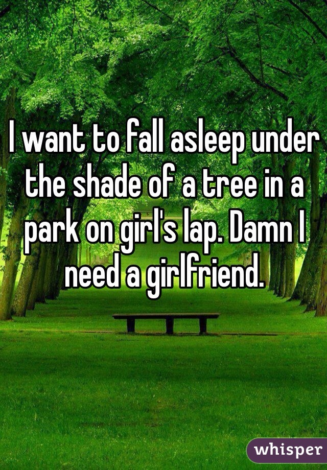 I want to fall asleep under the shade of a tree in a park on girl's lap. Damn I need a girlfriend.