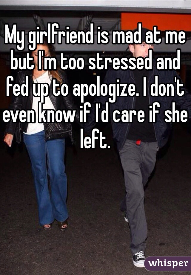 My girlfriend is mad at me but I'm too stressed and fed up to apologize. I don't even know if I'd care if she left.