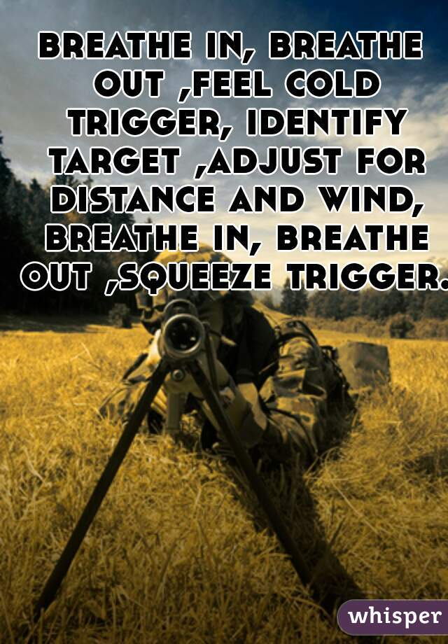 breathe in, breathe out ,feel cold trigger, identify target ,adjust for distance and wind, breathe in, breathe out ,squeeze trigger.