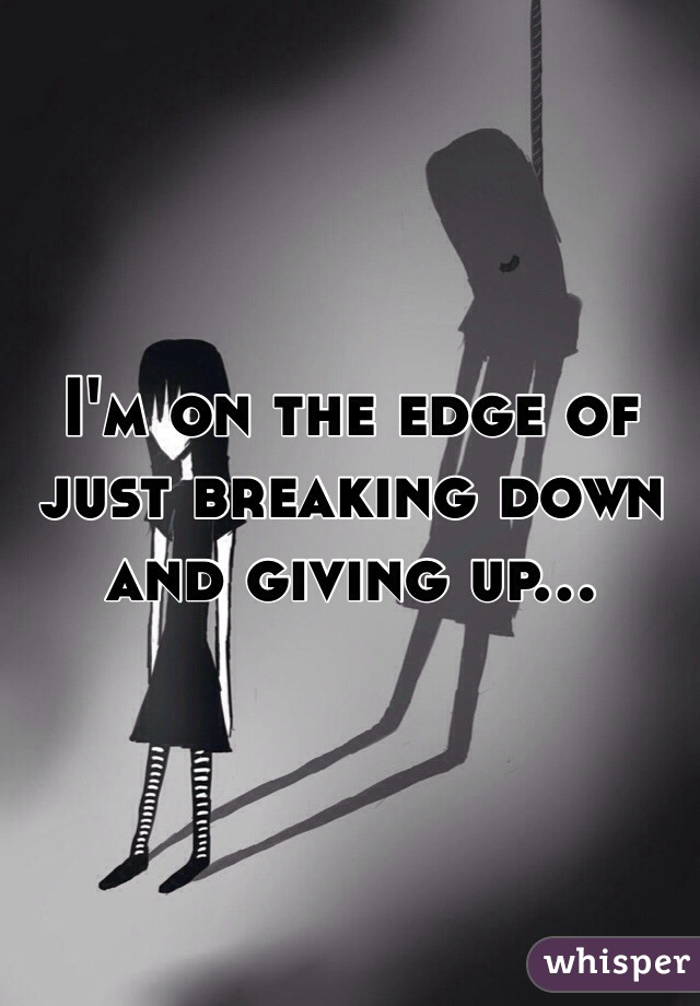 I'm on the edge of just breaking down and giving up...