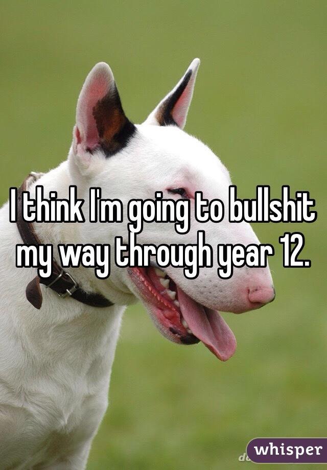 I think I'm going to bullshit my way through year 12.