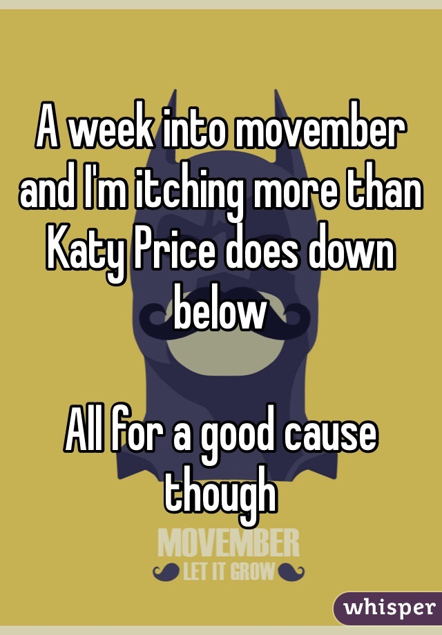 A week into movember and I'm itching more than Katy Price does down below  All for a good cause though