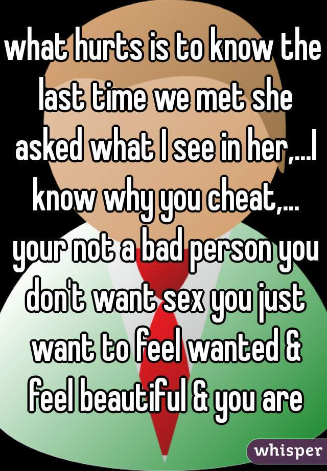 what hurts is to know the last time we met she asked what I see in her,...I know why you cheat,... your not a bad person you don't want sex you just want to feel wanted & feel beautiful & you are
