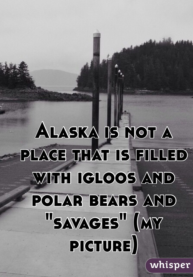 """Alaska is not a place that is filled with igloos and polar bears and """"savages"""" (my picture)"""