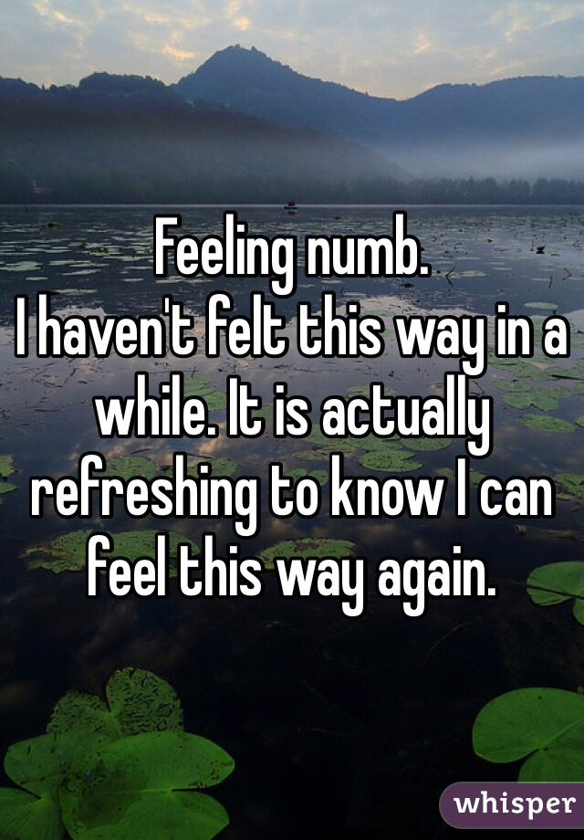 Feeling numb.  I haven't felt this way in a while. It is actually refreshing to know I can feel this way again.