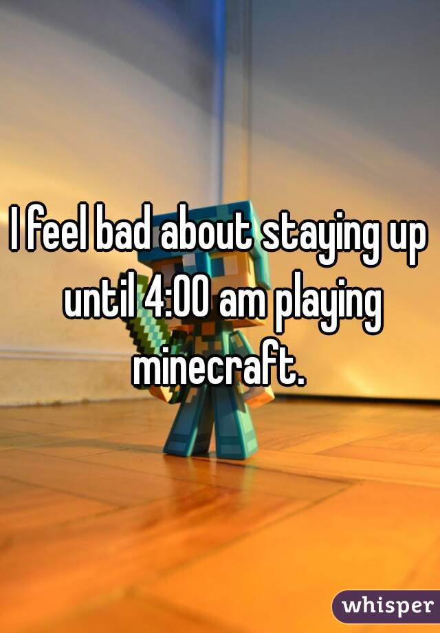 I feel bad about staying up until 4:00 am playing minecraft.