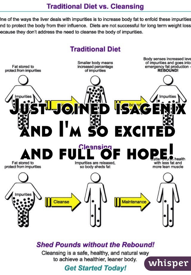 Just joined isagenix and I'm so excited and full of hope!