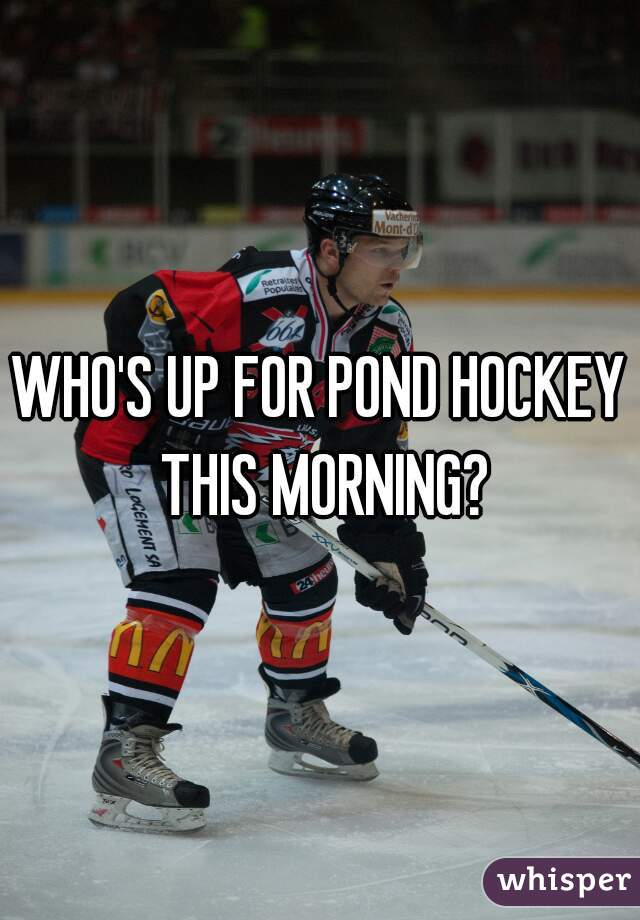 WHO'S UP FOR POND HOCKEY THIS MORNING?