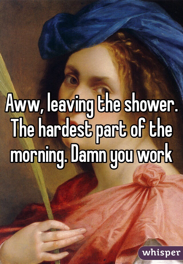 Aww, leaving the shower. The hardest part of the morning. Damn you work