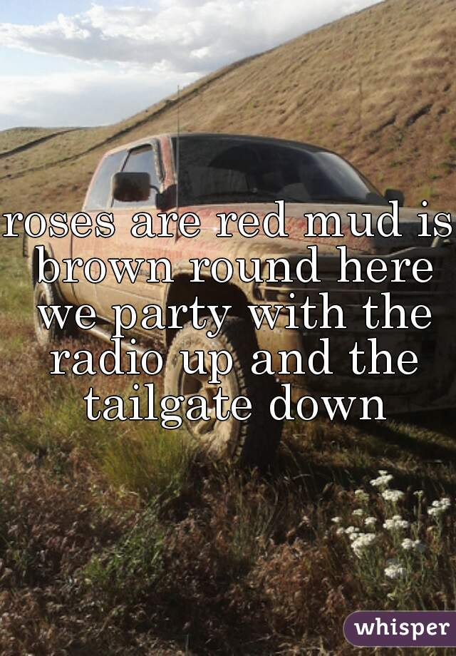 roses are red mud is brown round here we party with the radio up and the tailgate down