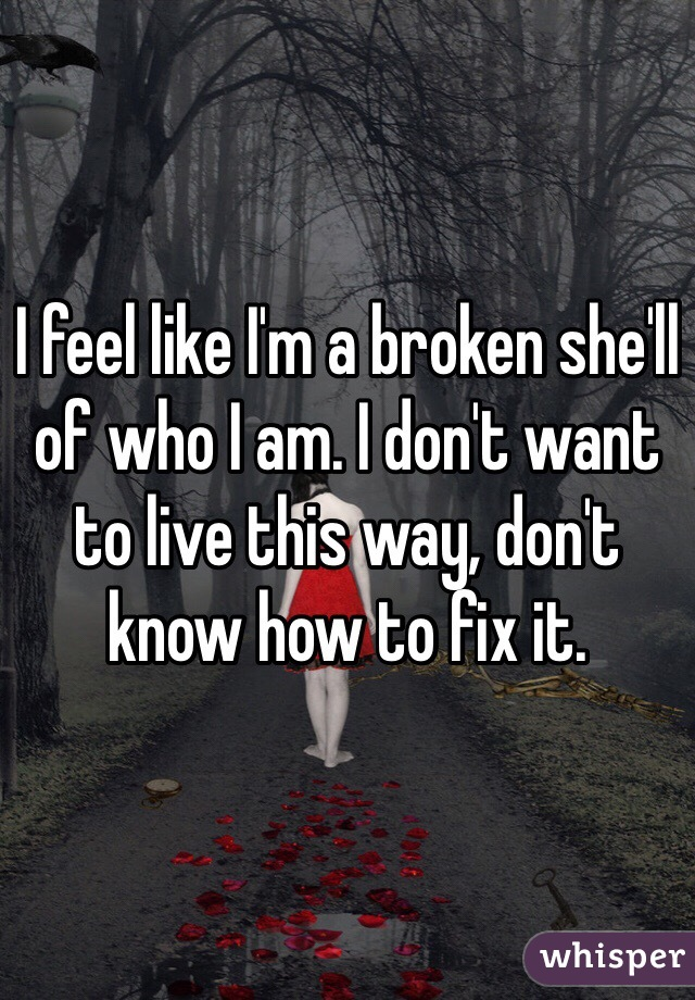 I feel like I'm a broken she'll of who I am. I don't want to live this way, don't know how to fix it.