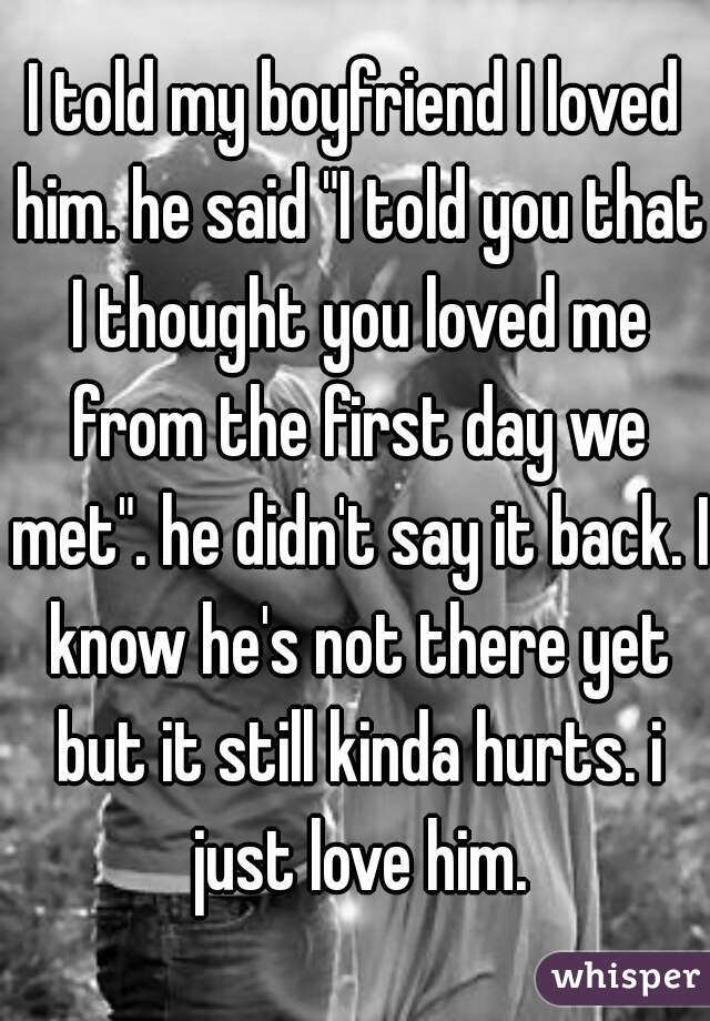 """I told my boyfriend I loved him. he said """"I told you that I thought you loved me from the first day we met"""". he didn't say it back. I know he's not there yet but it still kinda hurts. i just love him."""