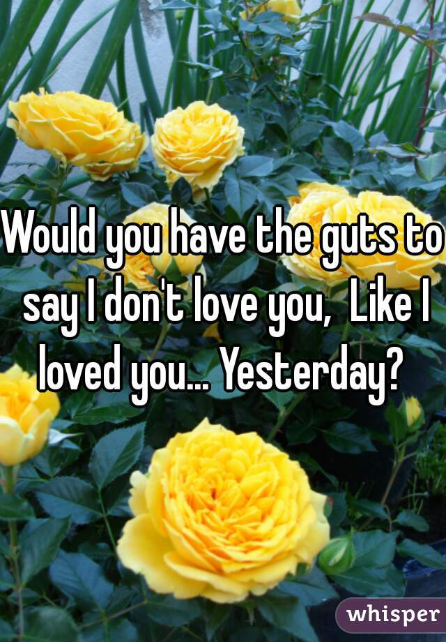 Would you have the guts to say I don't love you,  Like I loved you... Yesterday?