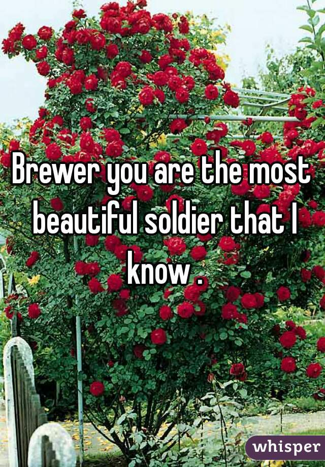 Brewer you are the most beautiful soldier that I know .
