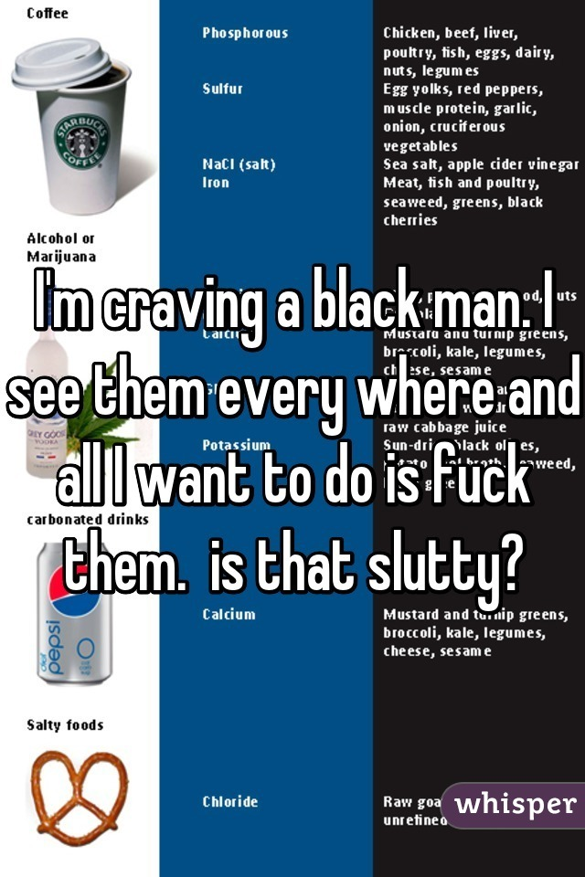 I'm craving a black man. I see them every where and all I want to do is fuck them.  is that slutty?