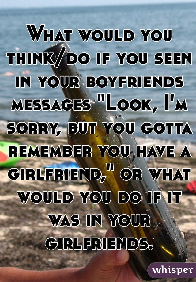 """What would you think/do if you seen in your boyfriends messages """"Look, I'm sorry, but you gotta remember you have a girlfriend,"""" or what would you do if it was in your girlfriends."""