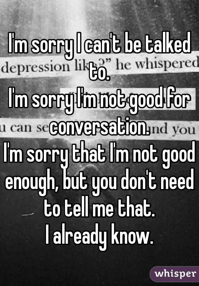 I'm sorry I can't be talked to. I'm sorry I'm not good for conversation. I'm sorry that I'm not good enough, but you don't need to tell me that. I already know.