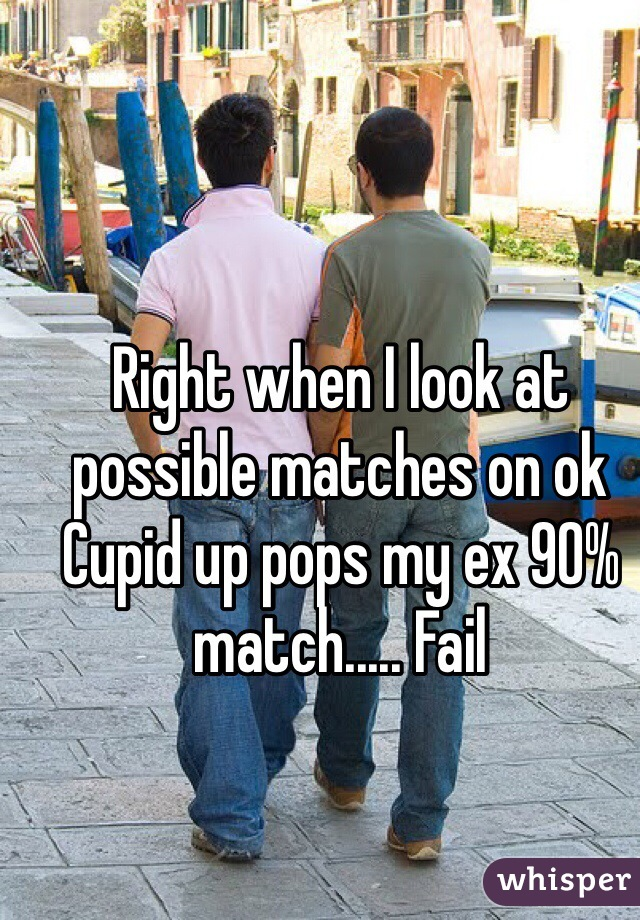Right when I look at possible matches on ok Cupid up pops my ex 90% match..... Fail