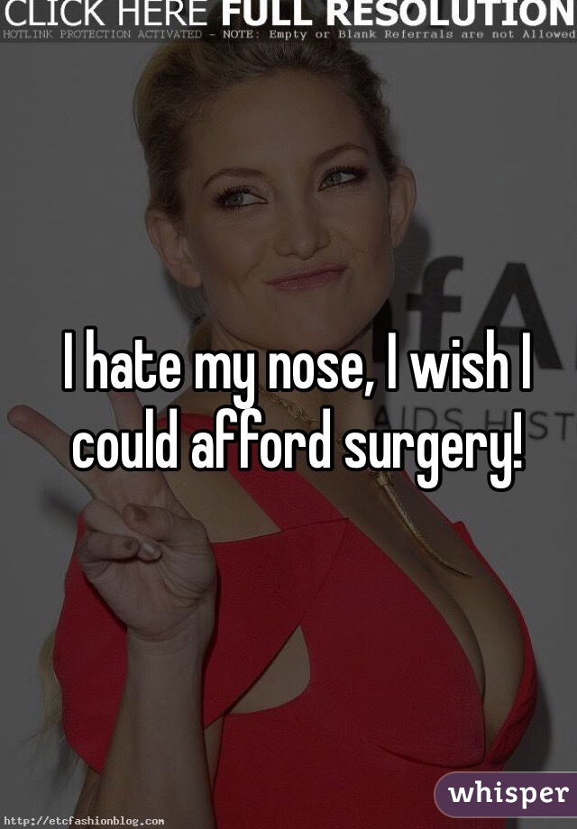 I hate my nose, I wish I could afford surgery!