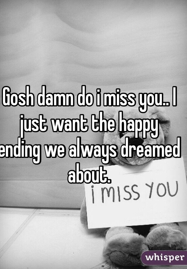 Gosh damn do i miss you.. I just want the happy ending we always dreamed about.