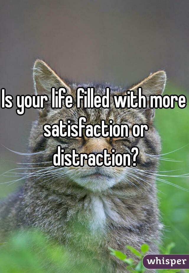 Is your life filled with more satisfaction or distraction?