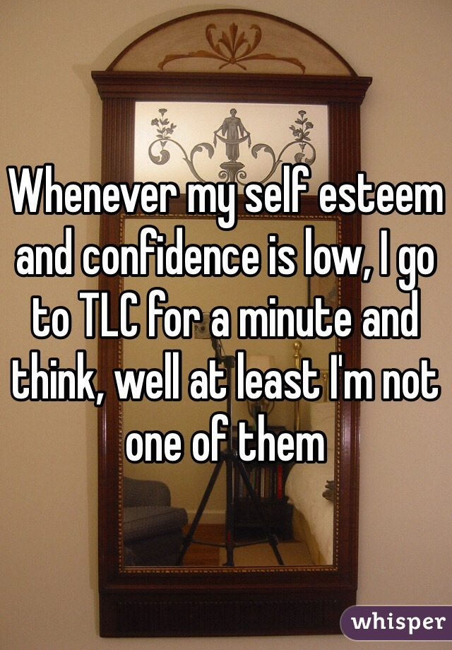 Whenever my self esteem and confidence is low, I go to TLC for a minute and think, well at least I'm not one of them