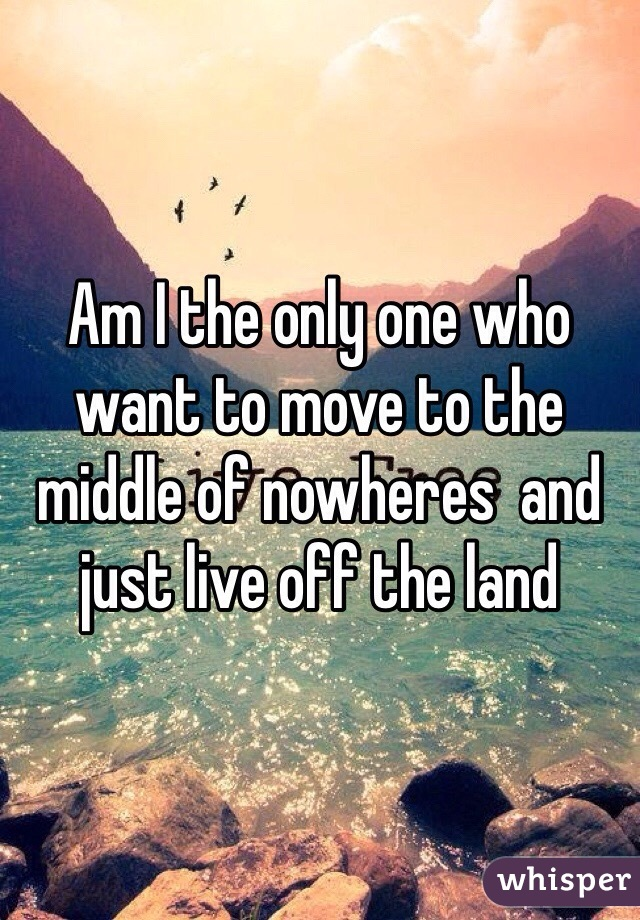 Am I the only one who want to move to the middle of nowheres  and just live off the land