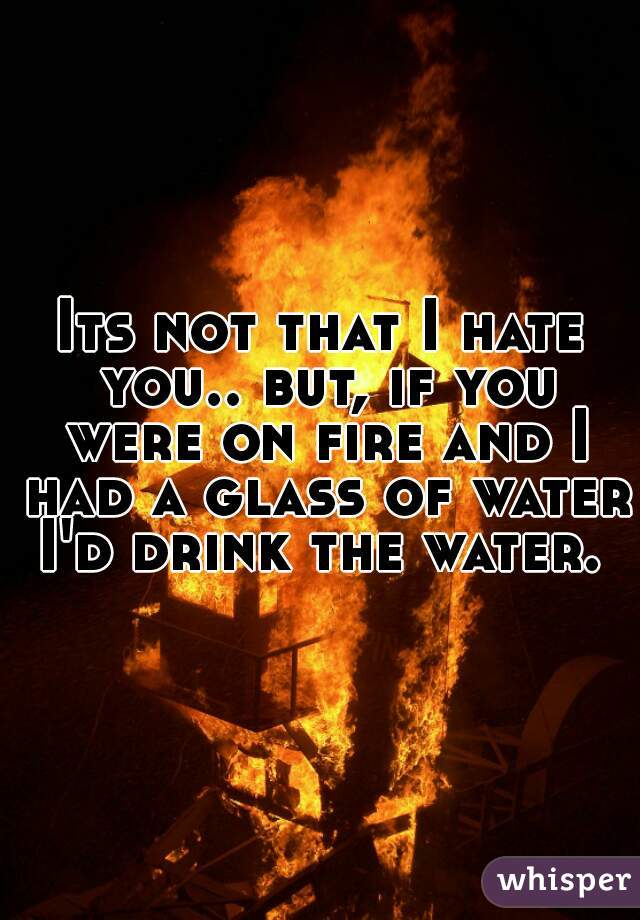 Its not that I hate you.. but, if you were on fire and I had a glass of water I'd drink the water.