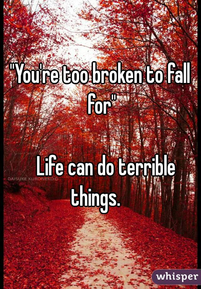 """""""You're too broken to fall for""""     Life can do terrible things."""