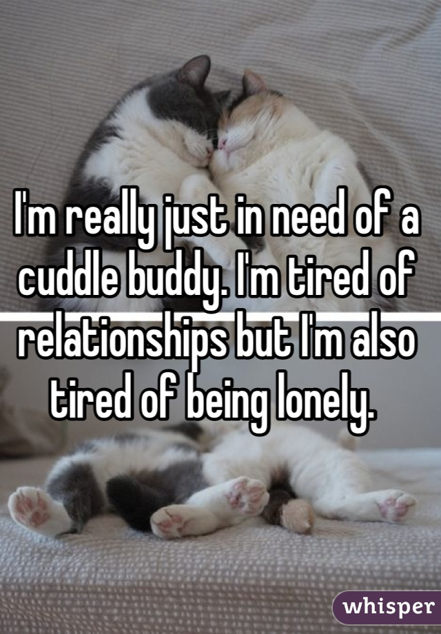 I'm really just in need of a cuddle buddy. I'm tired of relationships but I'm also tired of being lonely.
