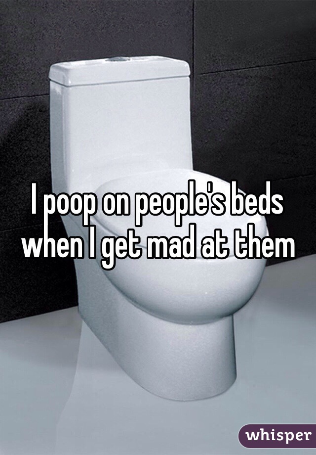 I poop on people's beds when I get mad at them