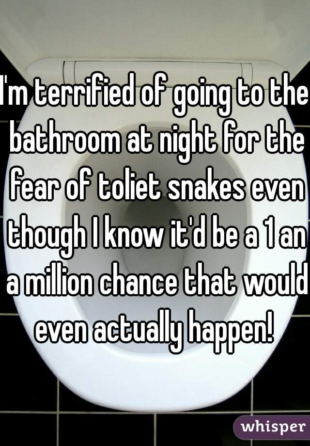 I'm terrified of going to the bathroom at night for the fear of toliet snakes even though I know it'd be a 1 an a million chance that would even actually happen!