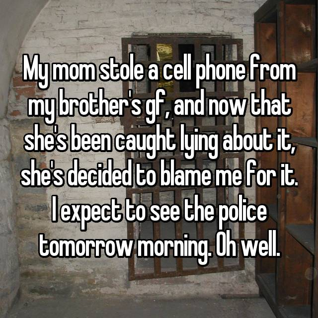 My mom stole a cell phone from my brother's gf, and now that she's been caught lying about it, she's decided to blame me for it. I expect to see the police tomorrow morning. Oh well.