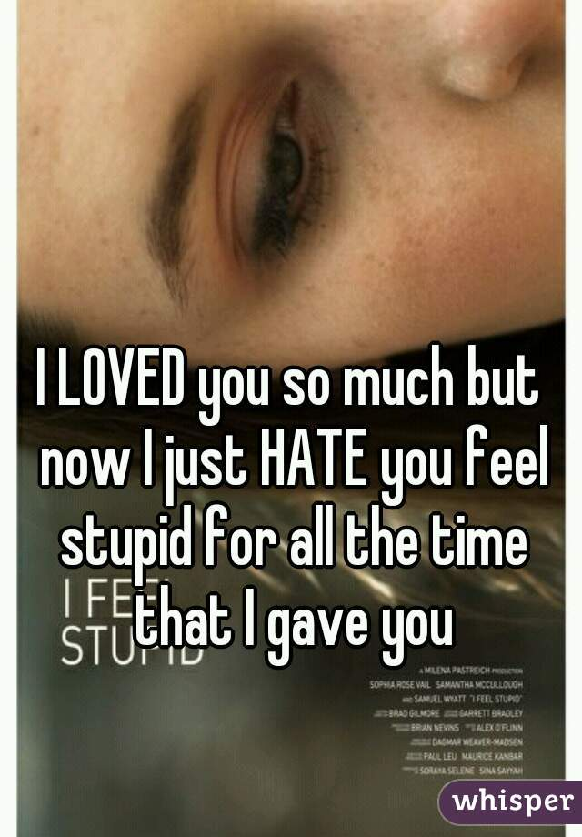 I LOVED you so much but now I just HATE you feel stupid for all the time that I gave you