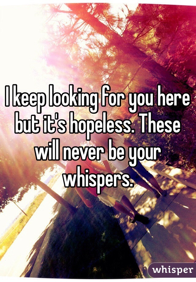 I keep looking for you here but it's hopeless. These will never be your whispers.