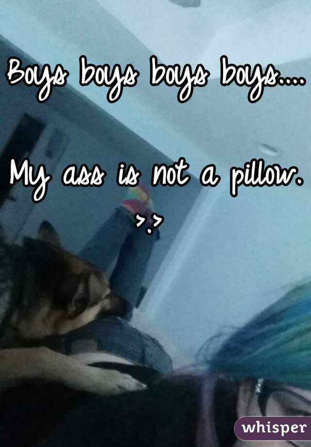 Boys boys boys boys....  My ass is not a pillow. >.>