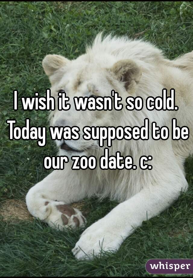 I wish it wasn't so cold. Today was supposed to be our zoo date. c: