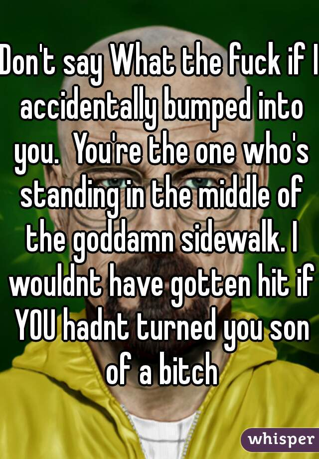 Don't say What the fuck if I accidentally bumped into you.  You're the one who's standing in the middle of the goddamn sidewalk. I wouldnt have gotten hit if YOU hadnt turned you son of a bitch