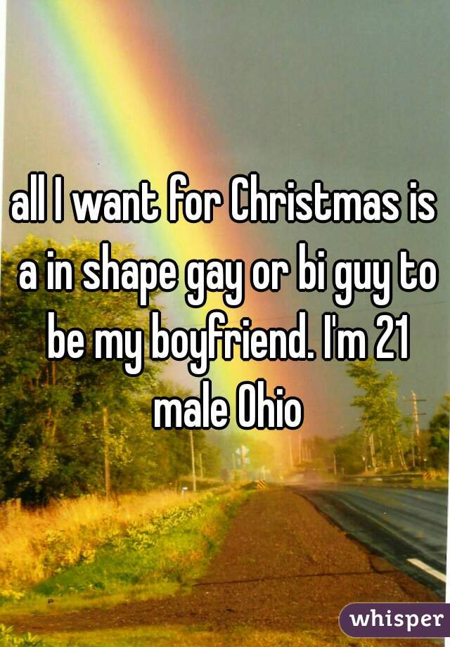 all I want for Christmas is a in shape gay or bi guy to be my boyfriend. I'm 21 male Ohio