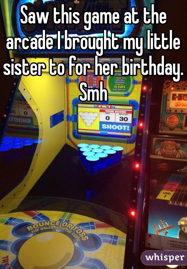 Saw this game at the arcade I brought my little sister to for her birthday. Smh