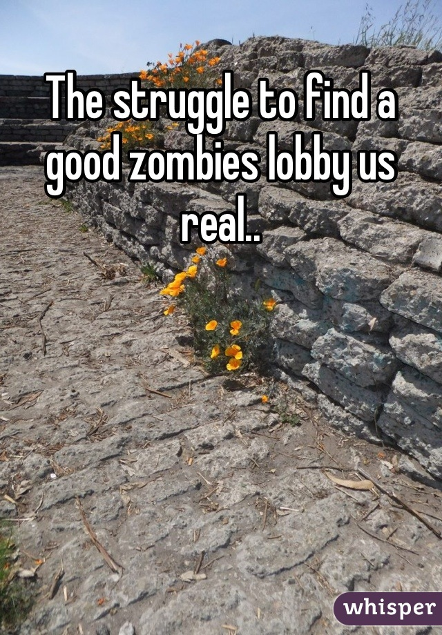 The struggle to find a good zombies lobby us real..