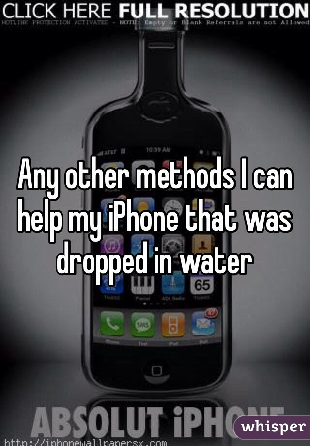 Any other methods I can help my iPhone that was dropped in water