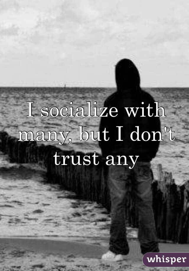 I socialize with many, but I don't trust any